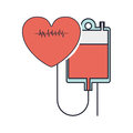 Hanging bag blood conected red heart beat Royalty Free Stock Photo