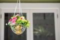 Hanging basket of flowers Royalty Free Stock Photo