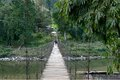 Hanging bridge a horizontal view of the at arunachal pradesh in india Royalty Free Stock Photo