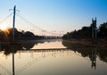 Hanging bridge morning in the Royalty Free Stock Images