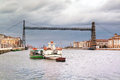 Hanging bridge on nervion river with portugalete and getxo villages Stock Photography