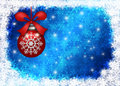 Hanging Christmas Ornament Snowflakes Border Blue Stock Photos