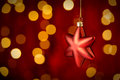 Hanging Christmas Ornament star lights background Royalty Free Stock Photo