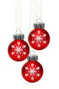 Hanging Christmas ornaments with snowflakes Royalty Free Stock Photo