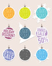 Hanging christmas sale labels vector illustration of label decorations Royalty Free Stock Photography