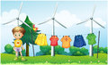 Hanging clothes at the hill near the windmills illustration of Royalty Free Stock Photos