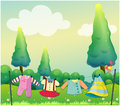 Hanging clothes near the pine trees illustration of Royalty Free Stock Images