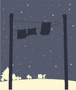 Hanging clothes during snow illustration of the Royalty Free Stock Image