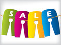 Hanging color sale labels Stock Photo