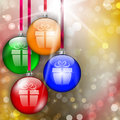 Hanging colorful christmas baubles with gift sign on bokeh lights abstract background vector illustration Stock Images