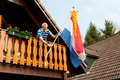 Hanging the Dutch flag Royalty Free Stock Image