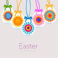 Hanging easter eggs with kaleidoscope symbol greeting card vector Royalty Free Stock Photo