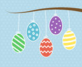 Hanging easter eggs on tree Stock Photography