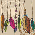 Hanging feathers on the laces Royalty Free Stock Images