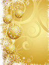 Hanging gold Christmas baubles Stock Images