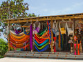 Hanging hammocks the vivid colors of in a roadside shop along the ruta del sol coastal route of ecuador Stock Photos