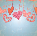 Hanging hearts love card with over blue background vector illustration Royalty Free Stock Images