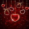 Hanging hearts red valentines background with shiny illustration Royalty Free Stock Image