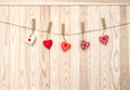 Hanging hearts wooden texture Valentines day background