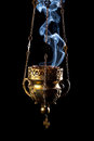 Hanging incense burner isolated on a black background Stock Photography