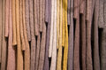 Hanging knit mohair sweater samples swatches in assorted colors Royalty Free Stock Photos