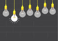 Hanging light bulbs on brick wall backgrounds,Vector illustrations Royalty Free Stock Photo