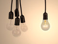 Hanging light bulbs idea background Stock Photography
