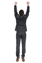 Hanging man in black suit Royalty Free Stock Photo