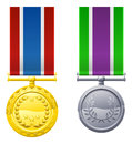 Hanging medals and ribbons an illustration of two metal Royalty Free Stock Photography