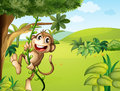 A hanging monkey and a beautiful nature illustration of Stock Photo