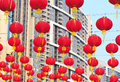 Hanging red lanterns Stock Image