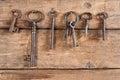 Hanging rusty keys Royalty Free Stock Photo