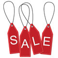 Hanging sale tags with isolated white background Royalty Free Stock Image
