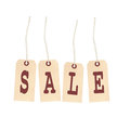 Hanging sale tags with text added Royalty Free Stock Images