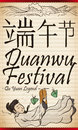Hanging Scroll with Scene of Qu Yuan for Duanwu Festival, Vector Illustration