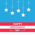 Hanging stars with dash line bow Srip background Happy independence day United states of America. 4th of July. Flat design Royalty Free Stock Photo