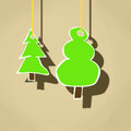 Hanging trees cartoon illustration of Stock Photos