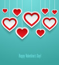 Hanging valentines hearts vector illustration Royalty Free Stock Photo