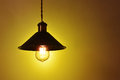 Hanging  vintage electric led lamp Royalty Free Stock Photo