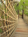 Hanging wooden bridge thehurdle Royalty Free Stock Photo