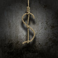 Hangman's knot shaped like a dollar Royalty Free Stock Photo