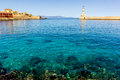 Hania harbour crete also known as chania and lighthouse greece Stock Image