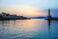 Hania harbour crete in the evening view of and lighthouse at chania greece Royalty Free Stock Image