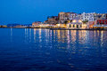 Hania harbour at night view of the in chania crete greece by Royalty Free Stock Photography