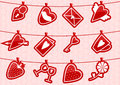Haning love icons vector illustrution with hanging on the rope by clothespegs Stock Photos