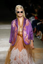Hanne Gaby Odiele walks the runway during the Dries Van Noten show Royalty Free Stock Photo