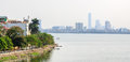 Hanoi cityscape at afternoon at West Lake Royalty Free Stock Photo