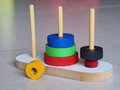 Hanoi tower of wooden toy puzzle old chinese game Royalty Free Stock Image