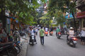 Hanoi vietnam august unidentified riders ride motorbikes on busy road on august in motorbike is the most favorite vehicle Royalty Free Stock Images