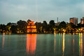 Hanoi, Vietnam. Illuminated Turtle Tower at Hoan Kiem Lake